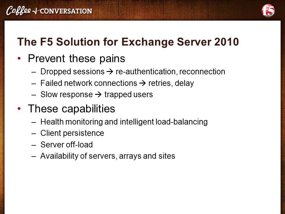 F5 Solution for Microsoft Exchange 2010 James Hendergart