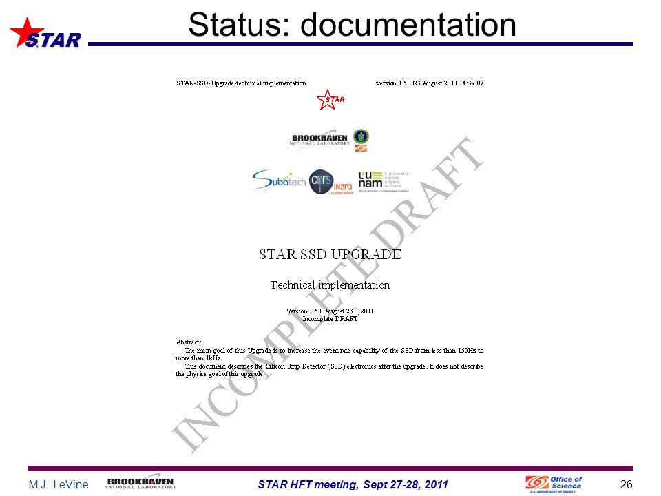 M.J. LeVine26STAR HFT meeting, Sept 27-28, 2011 STAR Status: documentation