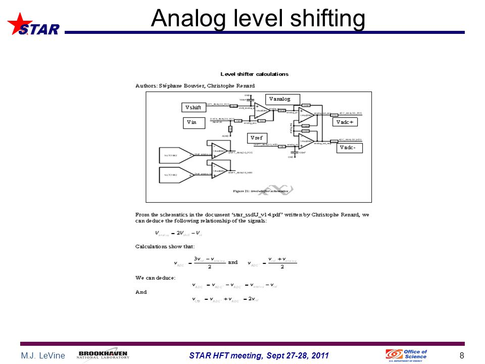 M.J. LeVine8STAR HFT meeting, Sept 27-28, 2011 STAR Analog level shifting