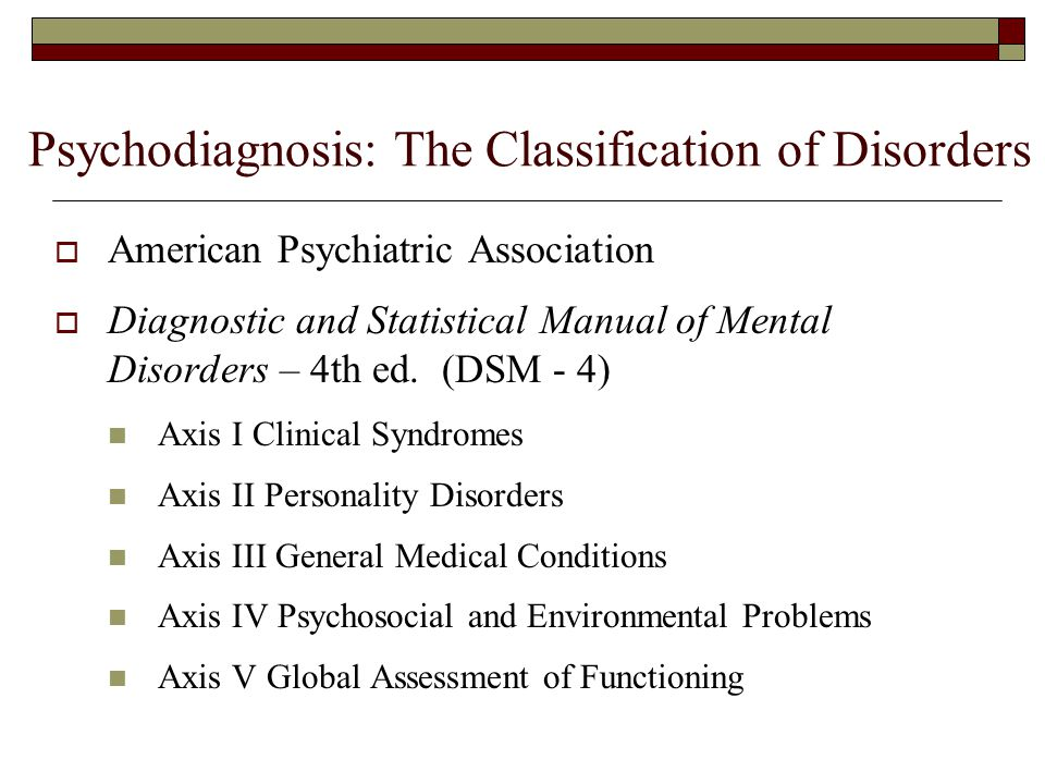 Psychodiagnosis: The Classification of Disorders  American Psychiatric Association  Diagnostic and Statistical Manual of Mental Disorders – 4th ed.