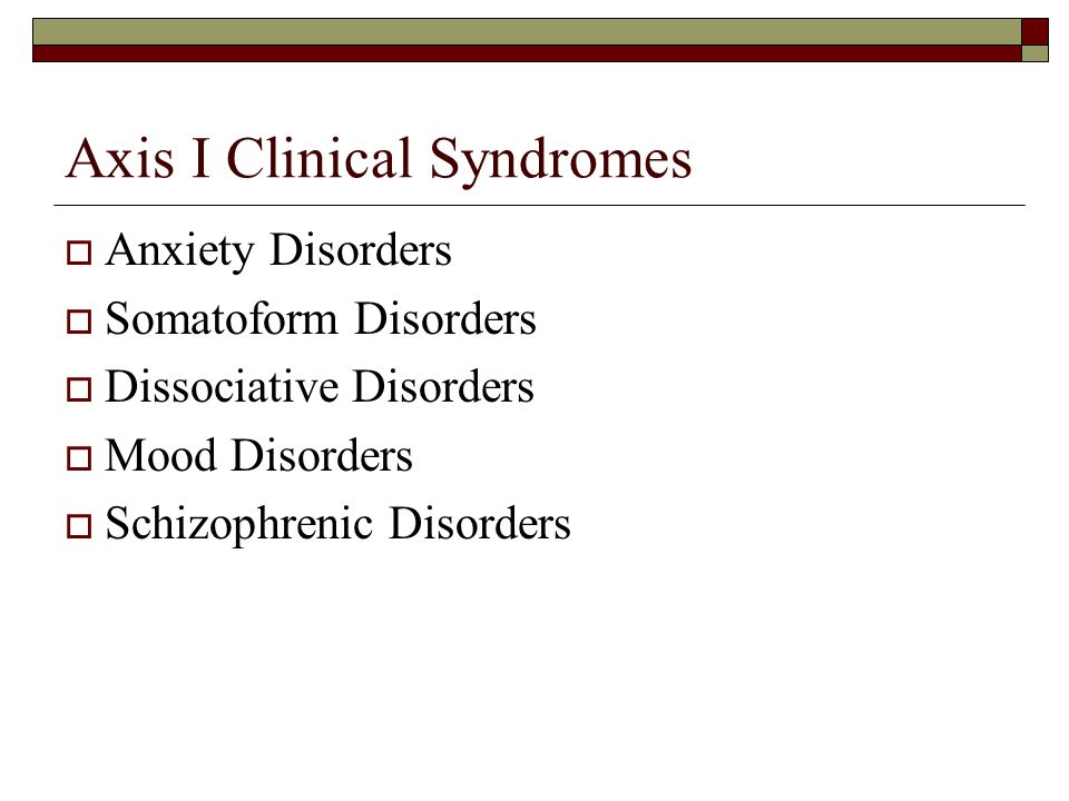 Axis I Clinical Syndromes  Anxiety Disorders  Somatoform Disorders  Dissociative Disorders  Mood Disorders  Schizophrenic Disorders