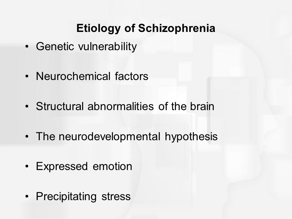Etiology of Schizophrenia Genetic vulnerability Neurochemical factors Structural abnormalities of the brain The neurodevelopmental hypothesis Expressed emotion Precipitating stress