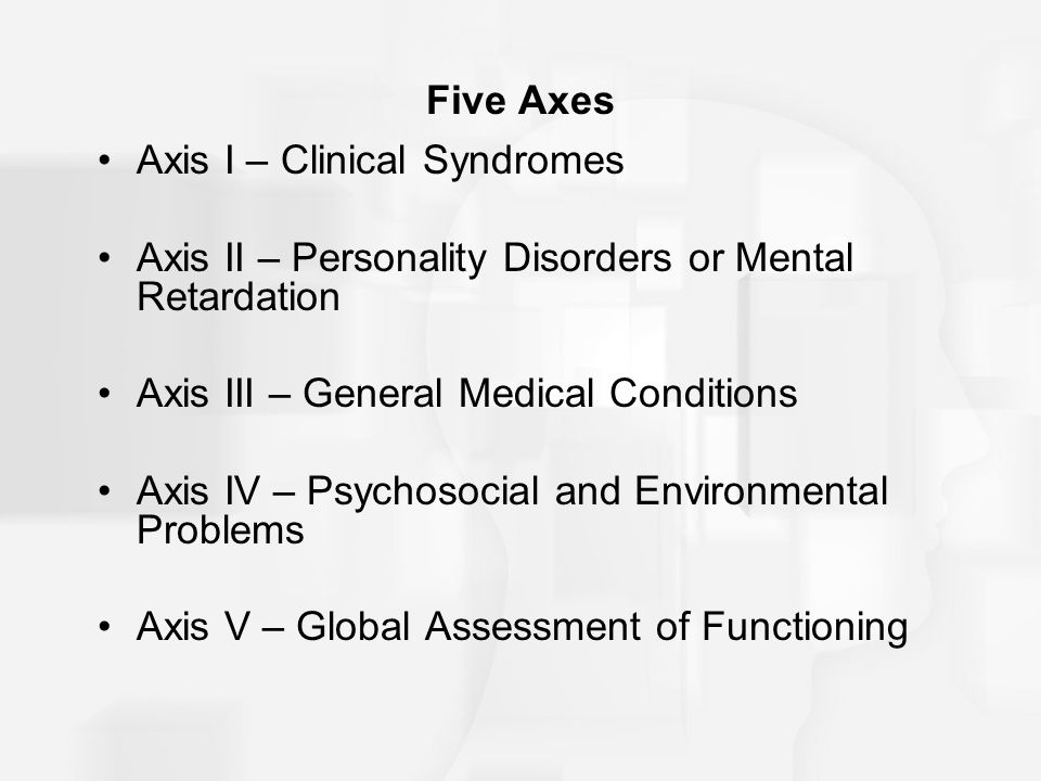 Five Axes Axis I – Clinical Syndromes Axis II – Personality Disorders or Mental Retardation Axis III – General Medical Conditions Axis IV – Psychosocial and Environmental Problems Axis V – Global Assessment of Functioning