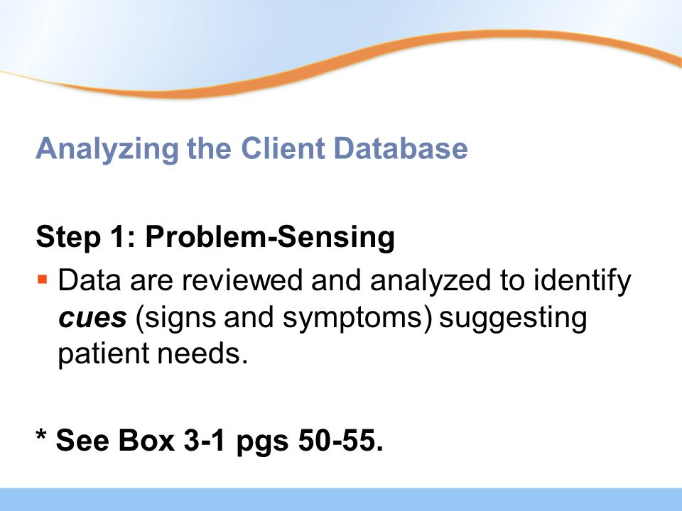 Analyzing the Client Database Step 1: Problem-Sensing  Data are reviewed and analyzed to identify cues (signs and symptoms) suggesting patient needs.