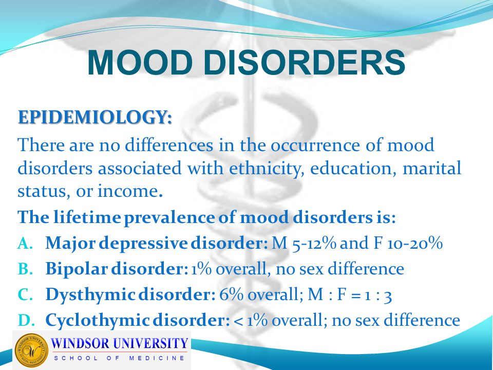 MOOD DISORDERS EPIDEMIOLOGY: There are no differences in the occurrence of mood disorders associated with ethnicity, education, marital status, or income.