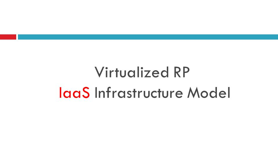 Virtualized RP IaaS Infrastructure Model