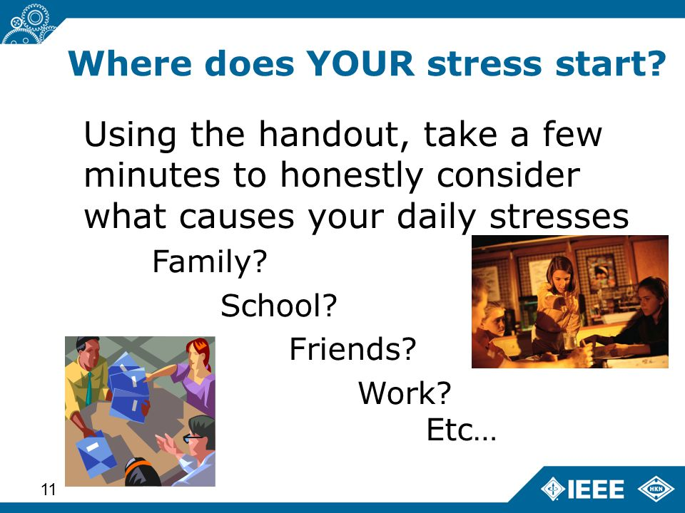Advanced Learning Workshop – Status (14 June 2013) 11 Using the handout, take a few minutes to honestly consider what causes your daily stresses Family.