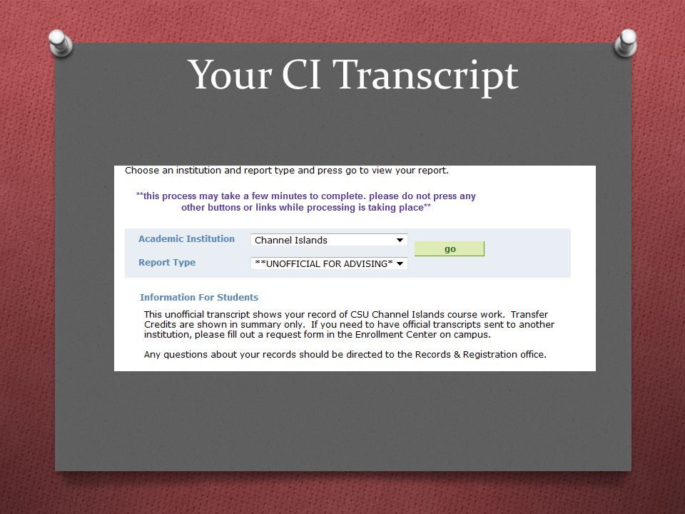 Your CI Transcript