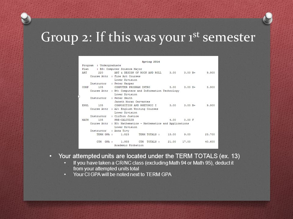 Group 2: If this was your 1 st semester Your attempted units are located under the TERM TOTALS (ex.