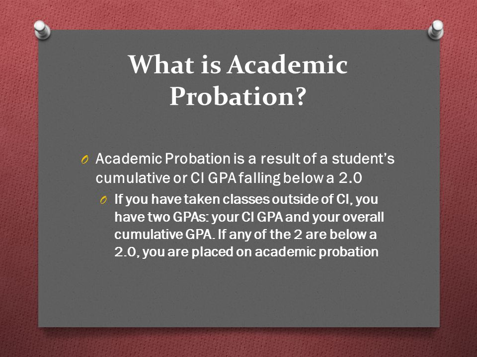 What is Academic Probation.
