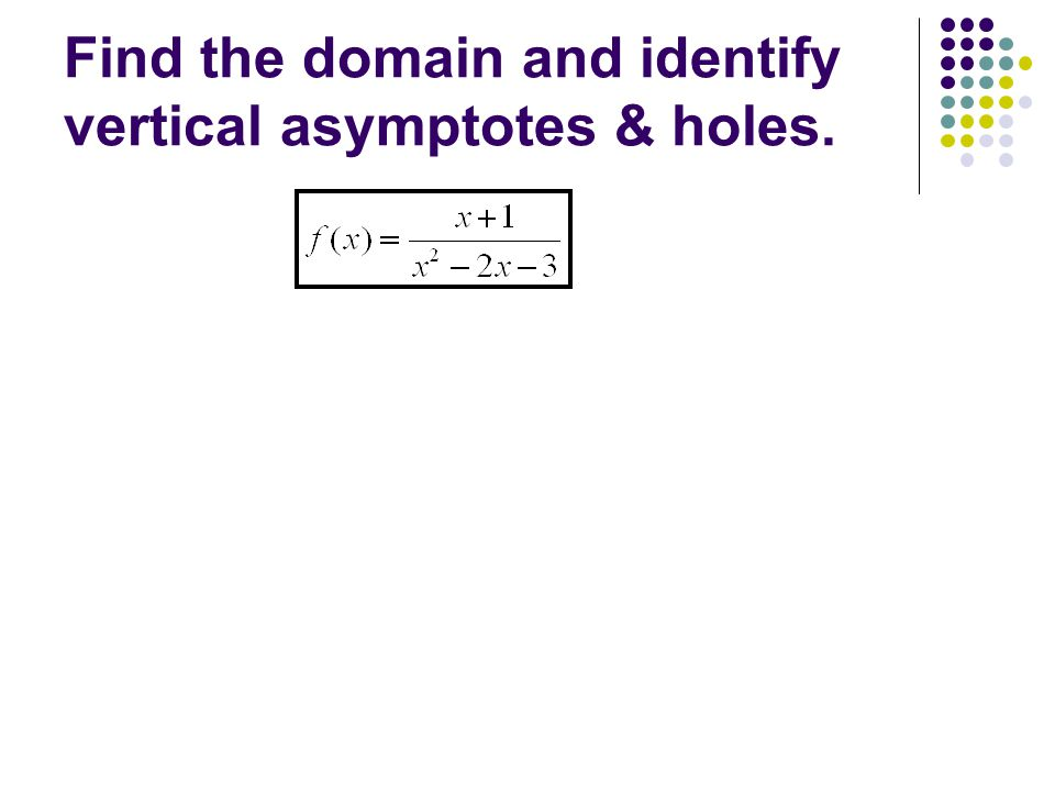 Find the domain and identify vertical asymptotes & holes.