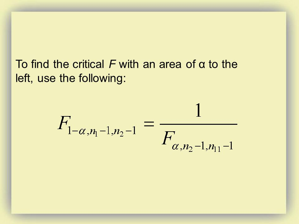 To find the critical F with an area of α to the left, use the following: