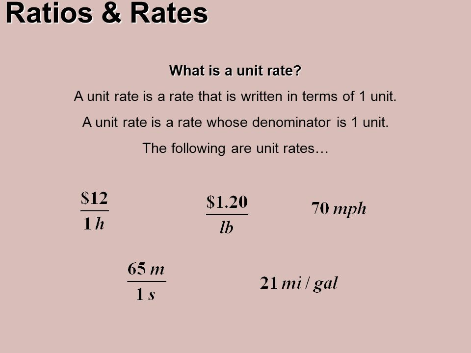 Ratios Rates What Is A Unit Rate That