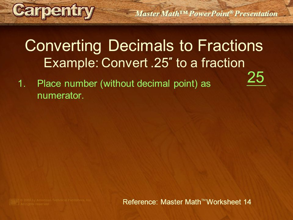 Master Math Powerpoint Presentation Converting Decimals To