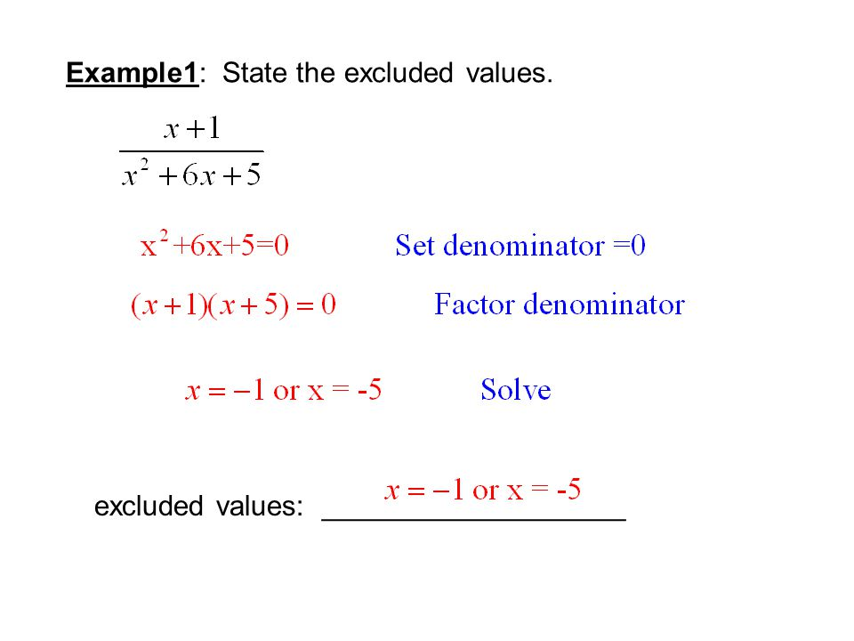 Example1: State the excluded values. excluded values: ___________________