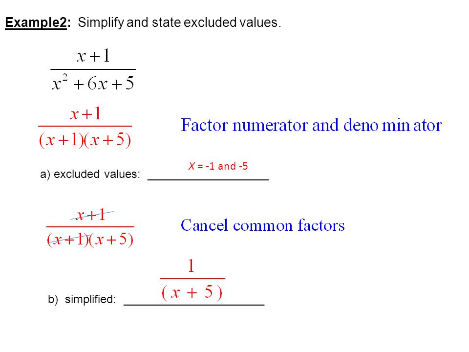 Example2: Simplify and state excluded values.