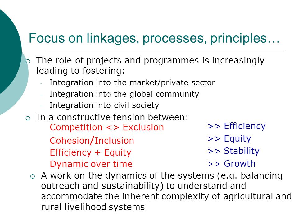 Focus on linkages, processes, principles…  The role of projects and programmes is increasingly leading to fostering: - Integration into the market/private sector - Integration into the global community - Integration into civil society  In a constructive tension between: Competition <> Exclusion Cohesion / Inclusion Efficiency + Equity Dynamic over time >> Efficiency >> Equity >> Stability >> Growth  A work on the dynamics of the systems (e.g.