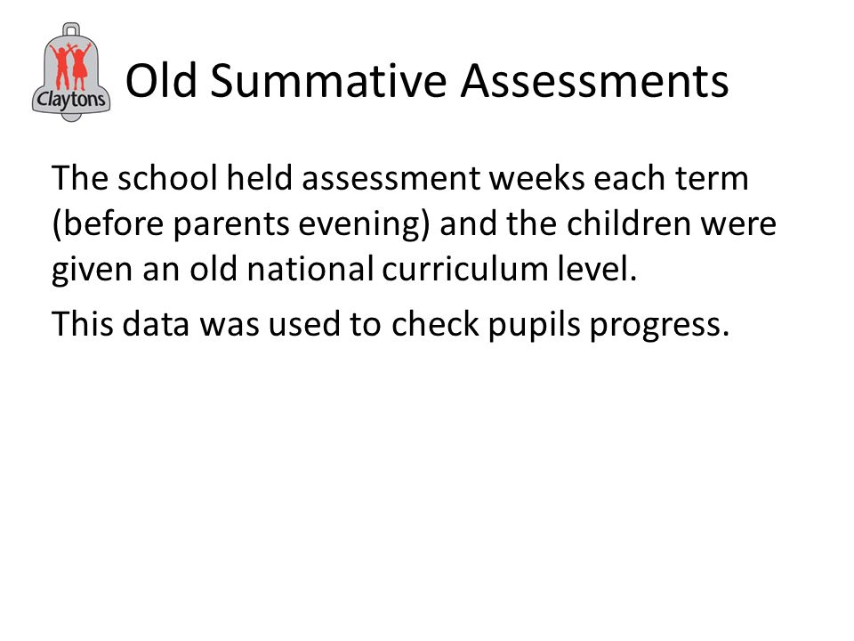 Old Summative Assessments The school held assessment weeks each term (before parents evening) and the children were given an old national curriculum level.