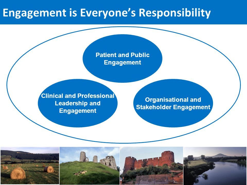 Engagement is Everyone's Responsibility Patient and Public Engagement Clinical and Professional Leadership and Engagement Organisational and Stakeholder Engagement