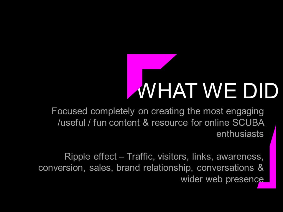 WHAT WE DID Focused completely on creating the most engaging /useful / fun content & resource for online SCUBA enthusiasts Ripple effect – Traffic, visitors, links, awareness, conversion, sales, brand relationship, conversations & wider web presence