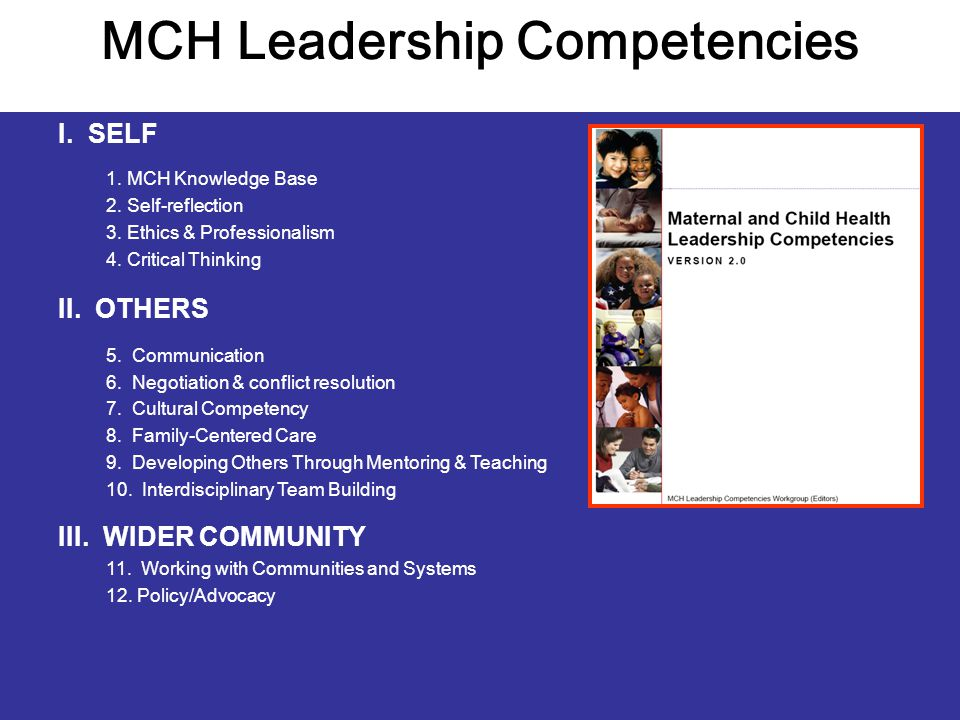 MCH Leadership Competencies I. SELF 1. MCH Knowledge Base 2.
