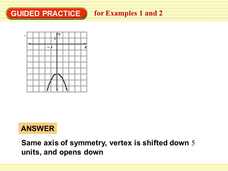 GUIDED PRACTICE for Examples 1 and 2 ANSWER Same axis of symmetry, vertex is shifted down 5 units, and opens down