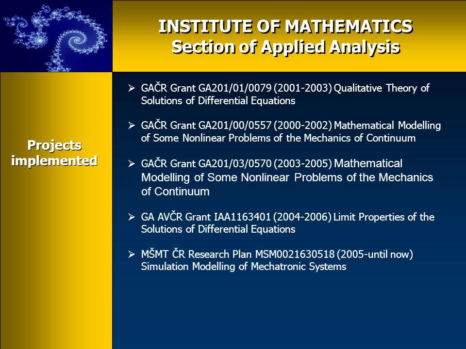 INSTITUTE OF MATHEMATICS  Section of applied algebra and