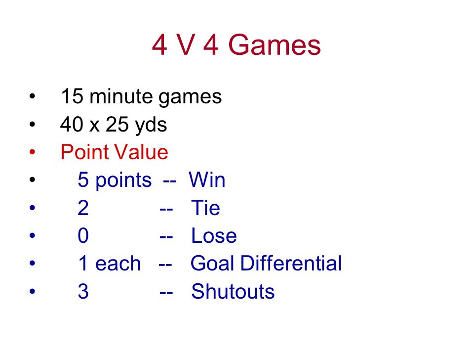 4 V 4 Games 15 minute games 40 x 25 yds Point Value 5 points -- Win 2 -- Tie 0 -- Lose 1 each -- Goal Differential 3 -- Shutouts