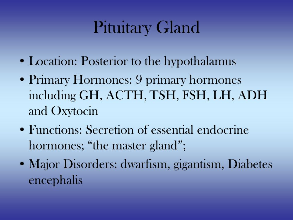Pituitary Gland Location: Posterior to the hypothalamus Primary Hormones: 9 primary hormones including GH, ACTH, TSH, FSH, LH, ADH and Oxytocin Functions: Secretion of essential endocrine hormones; the master gland ; Major Disorders: dwarfism, gigantism, Diabetes encephalis