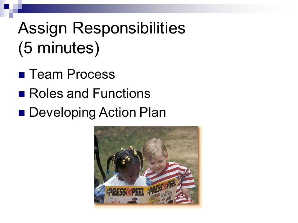 Assign Responsibilities (5 minutes) Team Process Roles and Functions Developing Action Plan