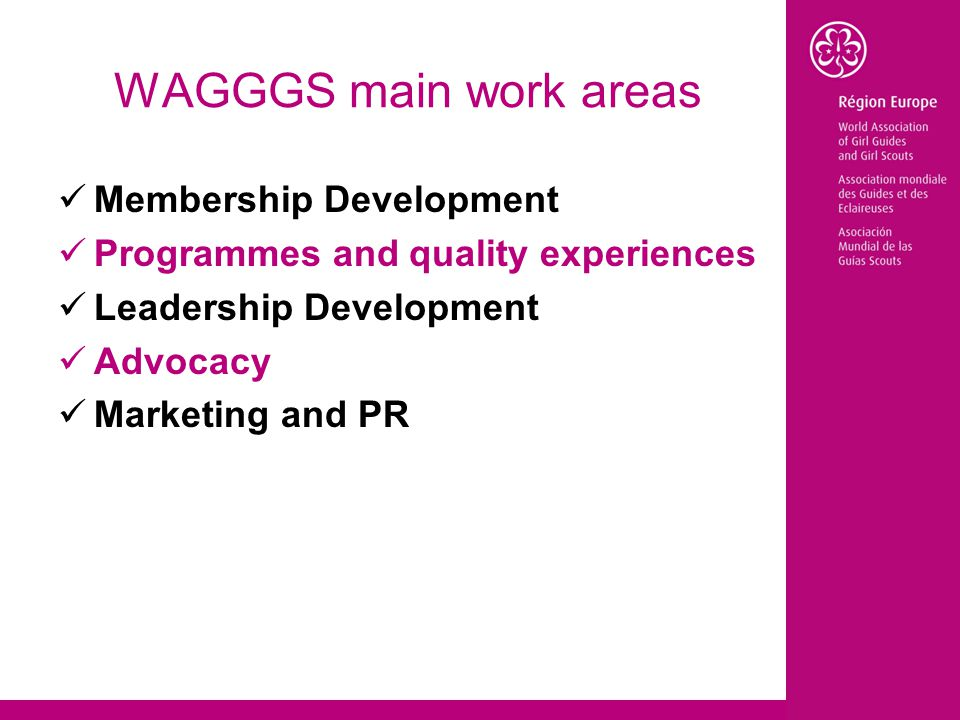 WAGGGS main work areas Membership Development Programmes and quality experiences Leadership Development Advocacy Marketing and PR