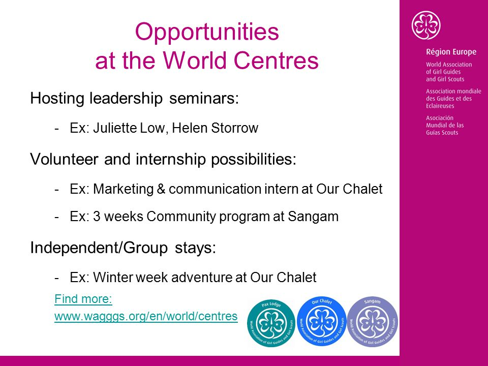 Opportunities at the World Centres Hosting leadership seminars: -Ex: Juliette Low, Helen Storrow Volunteer and internship possibilities: -Ex: Marketing & communication intern at Our Chalet -Ex: 3 weeks Community program at Sangam Independent/Group stays: -Ex: Winter week adventure at Our Chalet Find more: