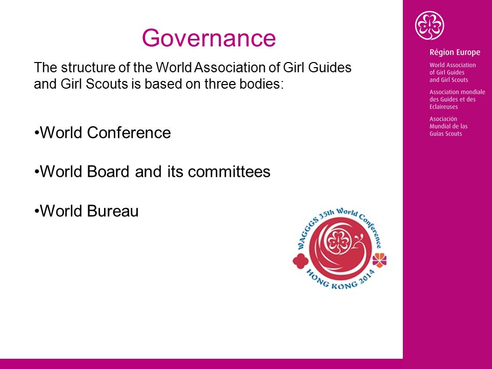 Governance The structure of the World Association of Girl Guides and Girl Scouts is based on three bodies: World Conference World Board and its committees World Bureau
