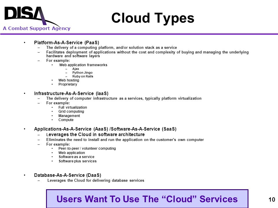 A Combat Support Agency Cloud Computing: An Operational