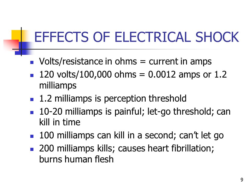 9 EFFECTS OF ELECTRICAL SHOCK Volts/resistance in ohms = current in amps 120 volts/100,000 ohms = amps or 1.2 milliamps 1.2 milliamps is perception threshold milliamps is painful; let-go threshold; can kill in time 100 milliamps can kill in a second; can't let go 200 milliamps kills; causes heart fibrillation; burns human flesh