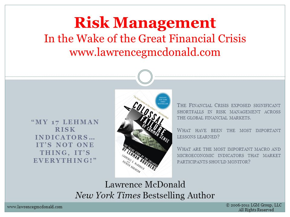 My 17 Lehman Risk Indicators Its Not One Thing Its Everything