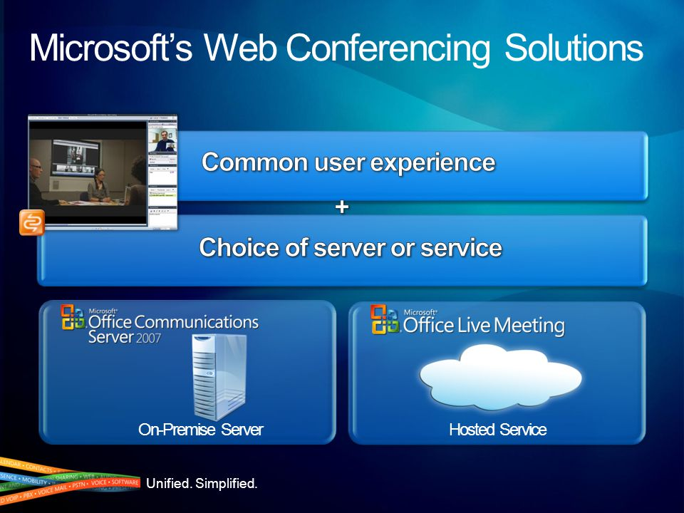 Unified. Simplified. On-Premise ServerHosted Service Microsoft's Web Conferencing Solutions