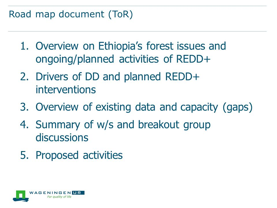 Road map document (ToR) 1.Overview on Ethiopia's forest issues and ongoing/planned activities of REDD+ 2.Drivers of DD and planned REDD+ interventions 3.Overview of existing data and capacity (gaps) 4.Summary of w/s and breakout group discussions 5.Proposed activities