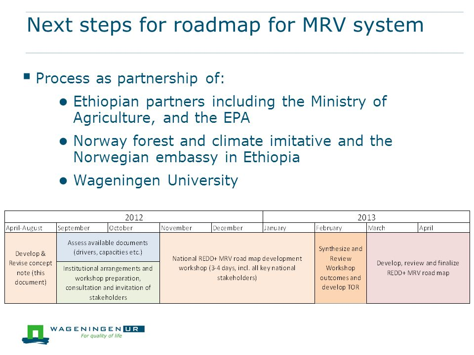 Next steps for roadmap for MRV system  Process as partnership of: ● Ethiopian partners including the Ministry of Agriculture, and the EPA ● Norway forest and climate imitative and the Norwegian embassy in Ethiopia ● Wageningen University