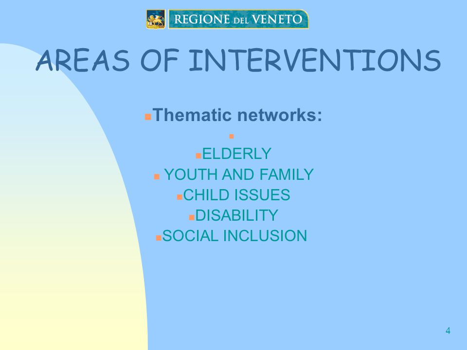 4 AREAS OF INTERVENTIONS Thematic networks: ELDERLY YOUTH AND FAMILY CHILD ISSUES DISABILITY SOCIAL INCLUSION