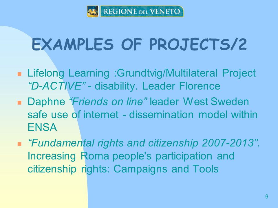 6 EXAMPLES OF PROJECTS/2 Lifelong Learning :Grundtvig/Multilateral Project D-ACTIVE - disability.