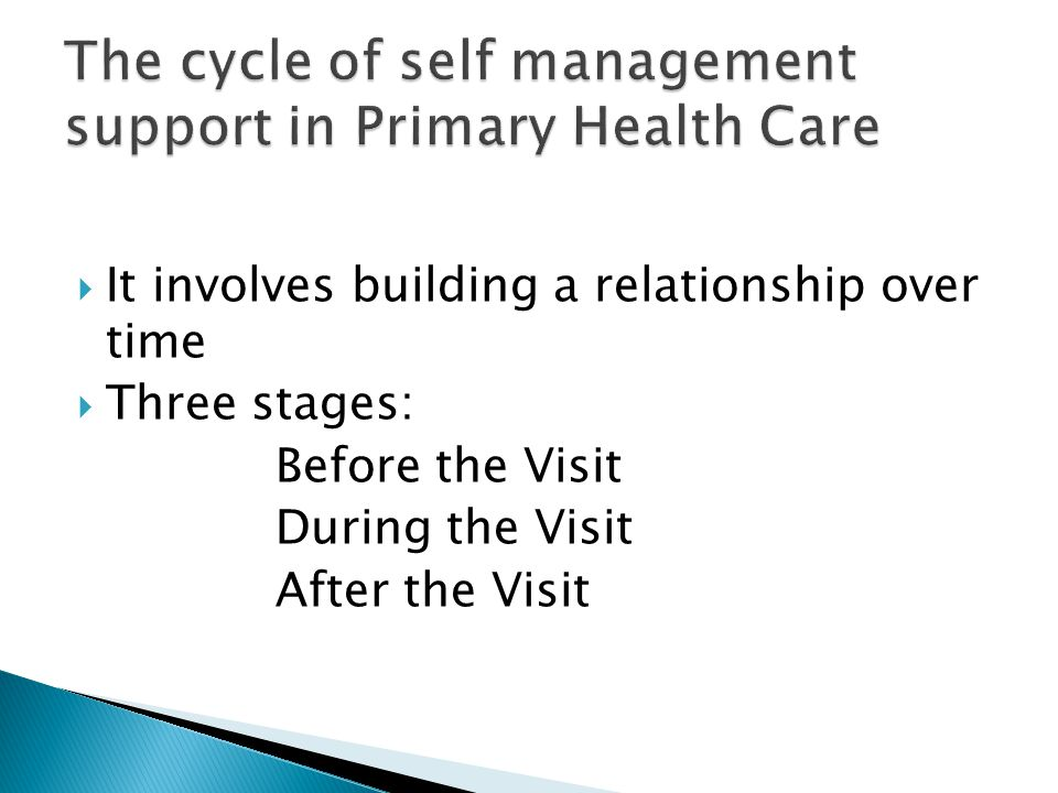  It involves building a relationship over time  Three stages: Before the Visit During the Visit After the Visit