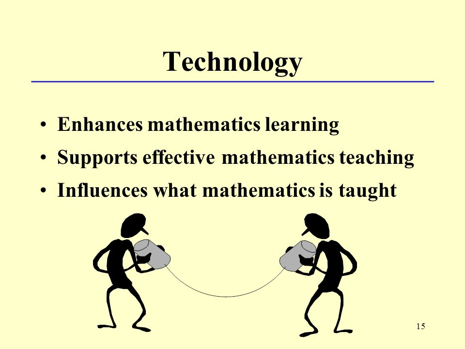 15 Technology Enhances mathematics learning Supports effective mathematics teaching Influences what mathematics is taught