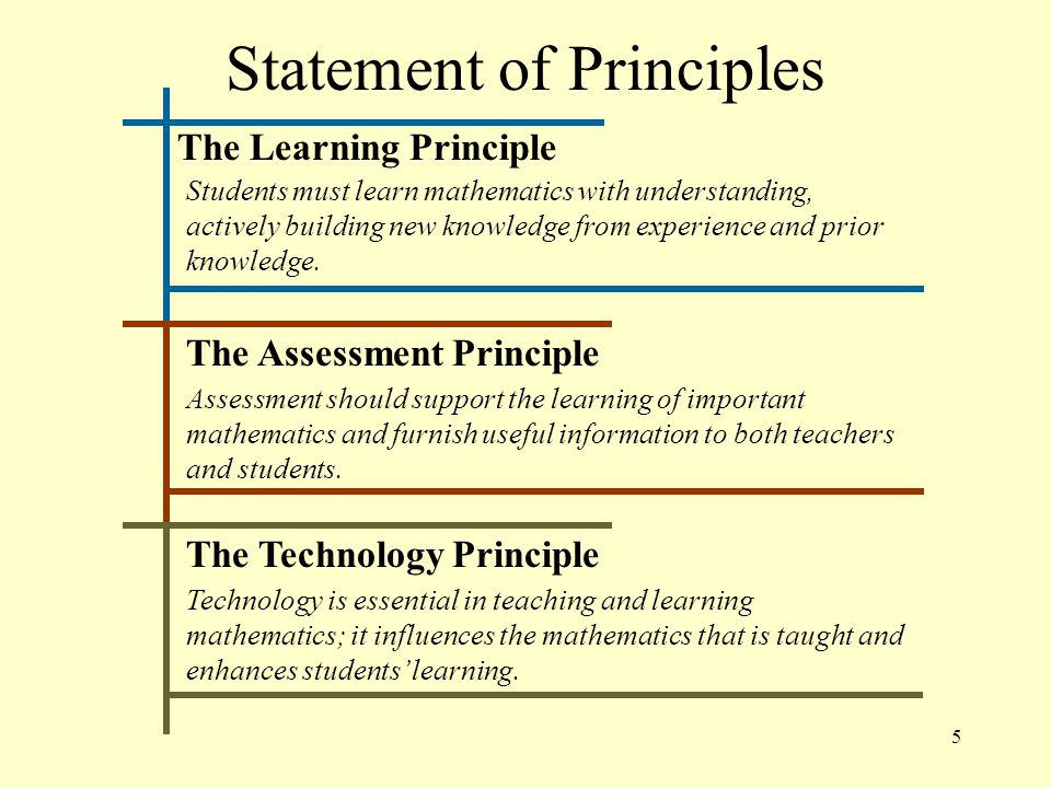 5 Statement of Principles The Learning Principle Students must learn mathematics with understanding, actively building new knowledge from experience and prior knowledge.