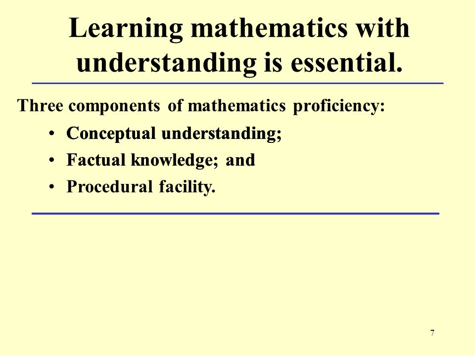 7 Learning mathematics with understanding is essential.
