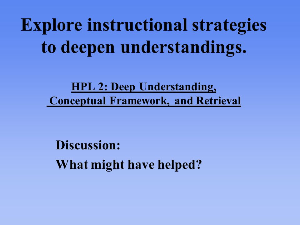 Explore instructional strategies to deepen understandings.