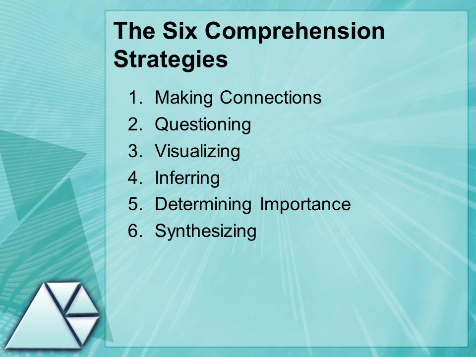 The Six Comprehension Strategies 1.Making Connections 2.Questioning 3.Visualizing 4.Inferring 5.Determining Importance 6.Synthesizing