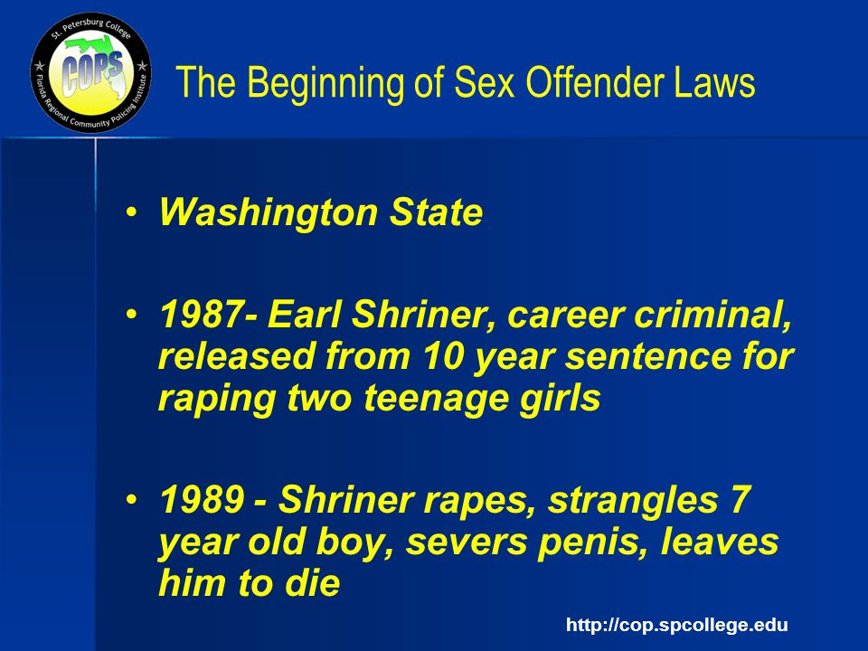 Are mistaken. Washington state sex offender law