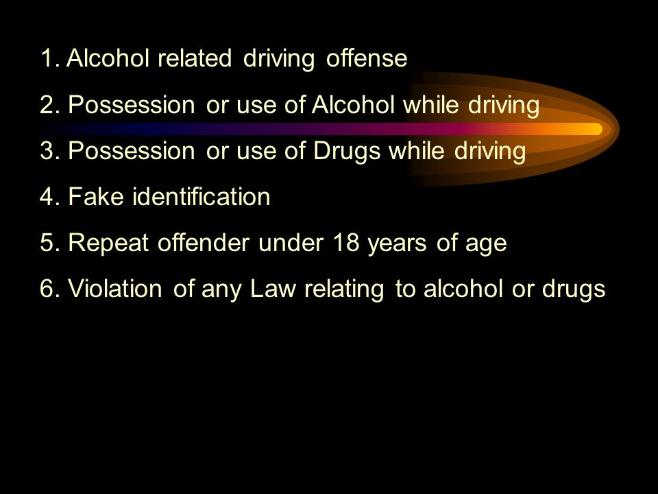 Abuse & Lose Under 21 and convicted of any of the following items you will lose your driving privileges.