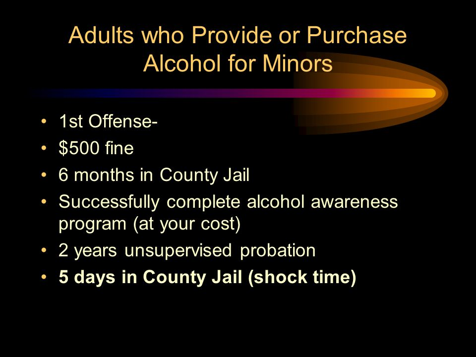 Possession of Alcohol or False Identification by Minor 3rd Offense- $500 fine 90 days in County Jail 2 years supervised probation (report weekly) Abuse & Lose if applicable 10 days in County Jail (shock time) Subsequent Offenses- serve actual jail time of up to one year